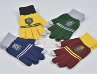 acrylic knit gloves - Harry Potter Gloves Badge Gloves Winter Knitted Cosplay Warm Gloves Unisex Christmas Gifts Warmer Gloves in stock