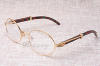 Wholesale Round glasses Cattle Horn Eyeglasses Peacock color Wood Men and women glasses glasess Eyewear Size mm