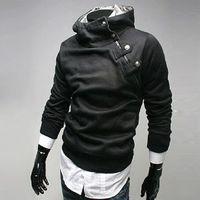 Wholesale Men s Hooded Sweater European Edition Super Size Men s Rabbit Hooded Sweater Jacket England Fashion Oblique Zipper Sweater W33