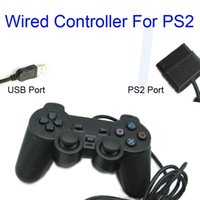 Compra Joystick usb ps2-Black Wired Controller 1.8M Doble Shock Mando a distancia joystick Gamepad Joypad PS2 Puerto / Puerto USB para PlayStation 2 PS2