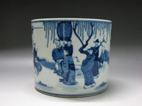 Wholesale Chinese Blue and white Porcelain Brush Pot Painted figure buffalo Kangxi mark