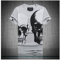 Wholesale Men s Brand New Fashion Young Popular Short Sleeve Skull Print Cotton T Shirt P5504