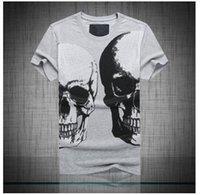 Wholesale Men s Brand New Fashion Young Popular Short Sleeve Skull Print Cotton T Shirt P5504