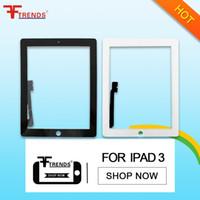 Compra Vidrio ipad2-Reemplazo de cristal del digitizador de la pantalla táctil para el iPad 2 3 4 Blanco negro AAA de la alta calidad 100% probado con el bolso al por menor de la burbuja