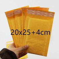 La venta caliente 200m m X 250m m + 40m m PE empaquetó el envío libre del embalaje del amarillo del bolso del sobre del correo de Kraft Envío libre