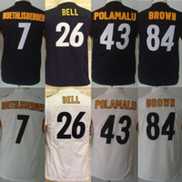 Wholesale Youth Kids Stitched Football Ben Roethlisberger Le Veon Bell Troy Polamalu Antonio Brown Black White Jerseys Mix Order