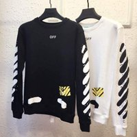 Wholesale Off White Sweater Mirror New Tag High Quality Hip Hop Men Streetwear Loose Design Long Sleeve Off White Striped Hoodies