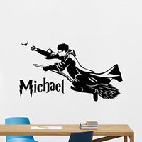 Wholesale Personalized Harry Potter Wall Decal Custom Name Movie Vinyl Sticker Cartoons Wizard Boy Customized Personal Kids Wall Art Design Bedroom Id
