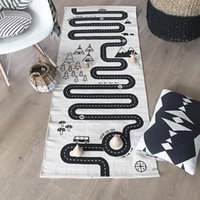 Wholesale INS hot Fashion Rectangle Carpets for children racing game road printed bed room living room