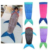 Wholesale Kids Mermaid Tail Sleeping Bags Shark Mermaid children Blankets Soft Fleece Wrap Handmade Sleeping Bag Shark Cocoon Bed christmas girls gift