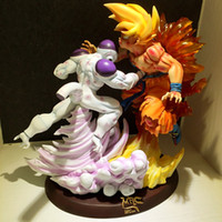 achat en gros de gros chiffres de dragons de résine-Grossiste-MODÈLE FANS Dragon Ball Z 33cm Frieza VS super saiyan goku gk gk jouet figurine action en résine pour la collection