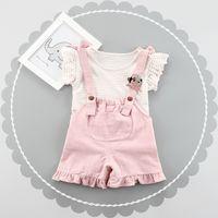 Wholesale Little Girls Suspender Pants Stripe Tee Outfits Summer Boutique Clothing Korean Girls Tee Top Jumpsuit Pieces Set