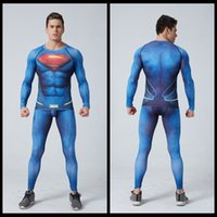 Wholesale Bodybuilding D tshirt superman Compression Tights Men Quick Dry Long Sleeve T Shirt Fitness Men Clothing