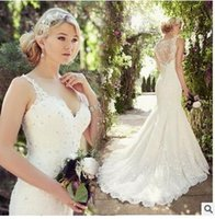 Wholesale The new shoulders v neck marriage gauze of marriage pulling end tail bigger sizes the bride wedding dress lace cultivate morality