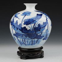 Wholesale Blue and White Porcelain Chinese Elegant Tabletop Vase with Embossed Lotus Pool Painting Decoration ZDV M002SL