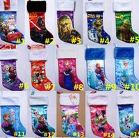 Wholesale Christmas Stockings Tree Party Decorations D Cartoon Frozen Princess Elsa Anna War Xmas Socks Children Kids Candy Pockets Gift Bags
