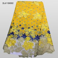 Wholesale yards best selling african embroidery wax lace fabric beautiful guipure wax lace fabric for wedding dress L611SX001