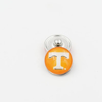 Wholesale NCAA Ginger Snap Jewelry Tennessee Snap Button mm Glass Collegiate Sport Team Snap Charms Fit DIY Bracelet Necklace