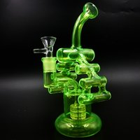 2017 Colorful Glass Bongs Matrix Perc Recycler Oil Rigs Glass Bongs Fluorescent Green Clear 9.7