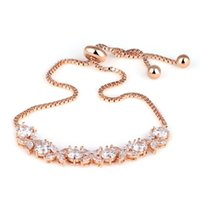 Wholesale Sparkling Cubic Zirconia Floral Design Adjustable Zircon Bracelets for Women in Rose Gold Plated