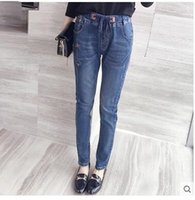 Wholesale In the autumn of the new large yards dress fat younger sister fertilizer plus size elastic waist elastic thin jeans