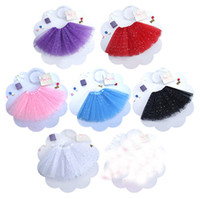 Classic Tutu Dresses Floral Girls 2Pieces Tutu Dress +Hair Accessories Baby Girl BlingBling Skirt For Toddlers Ballet Skirt 3layers Children 6 Colour Pettiskirt 2017