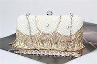 2017 Nouveau Perles Femmes Sacs De Soirée Diamonds Petite Bourse Embrayages Sacs à Main Or Perle Sacs De Mariage Sac À Bandoulière Pour Strass Bijoux De Mariage