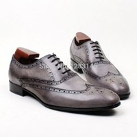 aa craft - Handmade Genuine Calf Leather Outsole Oxford Grey Brogues Toe Men s Classic Dress Cement Craft Shoe No ox623