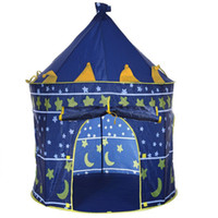 Wholesale 2 Colors Portable Foldable Play Tent Prince Folding Tent Kids Children Boy Castle Cubby Play House Kids Gifts Outdoor Toy Tents