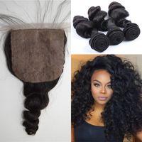 Cheap Brazilian Virgin Hair with Silk Base Closure Loose Wave 3 Bundles Human Hair with Closure DHL Free