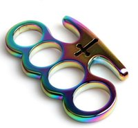 Wholesale More Color New THICK STEEL BRASS KNUCKLE DUSTER TITANIUM HEAVY DUTY BUCKLE BRASS KNUCKLE DUSTER