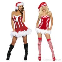 accent costumes - 2017 New Personality With Accent Red And White Stripes Slim Bra Christmas Dress Bowknot Hair Skirt Dress