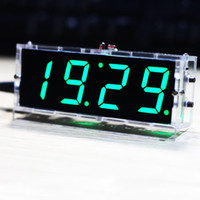 Wholesale 2016 new come Compact digit DIY Digital LED Clock Kit Light Control Temperature Date Time Display with Transparent Case