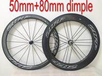 al por mayor ruedas de bicicleta de carretera de carbono zipp-Venta al por mayor Zipp dimple superficial 50mm + 80mm bicicleta de carretera de carbono ruedas Clincher / Tubular Wheelset Road bicicleta / bicicleta