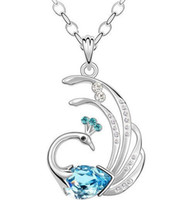 artificial jewellery indian - JS N080 Indian Favorite Peacock Necklace White Gold Plated CM Long Necklace Drop Shipping Artificial Jewellery