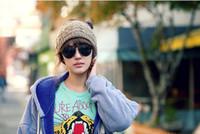 acrylic headdress - Ponytail Knit Hats Autumn Winter Fashion Street Hat Beanie Knitted Hat Unisex Cap Headgear Headdress Head Warmer Skiing Caps