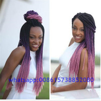 Cheap marley braid hair two tone purple grey blue black xpression ombre braiding hair expression senegalese twist braiding hair women