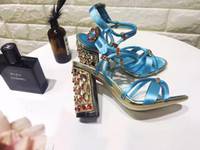 Chunky Heel beautiful summer tops - Newest brand design red summer shoes woman beautiful high heels with Rhinestones sandals Fahion top quality sky blue slik party shoes