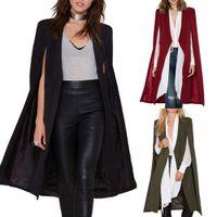 Wholesale Women Fashion Cape Cardigan Blazer Plus Size Loose Long Cloak Jacket Trench Coat Outerwear Blazer Women Office Ladies Suits T