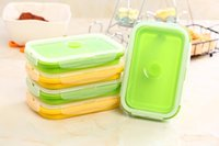 Wholesale HOT SALE Silicone Collapsible Portable Lunch Box Bowl Bento Boxes Folding Food Storage Container Lunch Box Eco Friendly ml