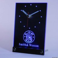 Wholesale tnc0187 Smith Wesson Gun Firearms Logo Table Desk D LED Clock