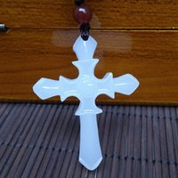 afghanistan jewellery - cross from Mandy s necklace Store Men Women Religious Jewellery Natural Hand Carved White Afghanistan Jade Cross Pendant