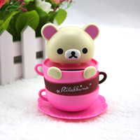 article coffee - Shake head to coffee cup easily bear solar dolls White and brown two colors car furnishing articles cartoon car accessories