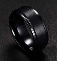 Wholesale New European and American fashion men s fashion jewelry simple tungsten steel ring black boyfriend gift