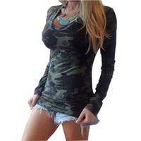 Acheter Shirt de douille d'impression des animaux gros-Vente en gros 2016 femmes été automne robe manches longues manches V-cou camouflage impression mince casual T-shirt Armée Tous les matchs Tops Tee
