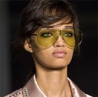 achat en gros de cadre jaune lunettes de soleil femmes-One Luxury Aviator Lunettes de soleil Femmes Hommes Marque Designer grand cadre pilote Lunettes de soleil lunettes de mode unisexe 2017 Siamese shades jaune lens