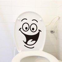 achat en gros de machine car wash-Free DHL Smile visage toilettes autocollants bricolage meubles personnalisés décoration mur autocollants réfrigérateur machine à laver autocollant Cadeau de voiture de salle de bains