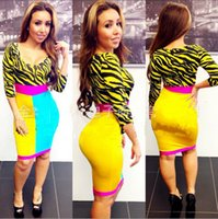 robe zèbre stripe club achat en gros de-New Hot 3 / 4sleeve yellow zebra stripe Sexy bandage Dress Femme Sexy Party Dresses Sexy Clubwear Robes Femme Bodycon dress Haute qualité
