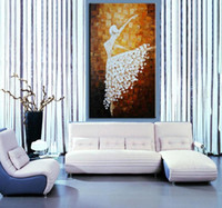 ballet wall decor - Beautiful Ballet Girl Hand Painted Modern Abstract Figure Oil Painting on Canvas Wall Art Picture Home Living Room Decor Unframed HQ21