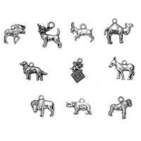 Argent Chèvre Chèvre Buffalo Moose Camel Gorilla Chien Rhinoceros Bee Chien Vintage Animaux Charm Personnalisé Pendentif Bijoux DIY